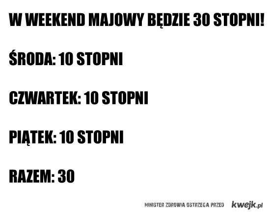 30 stopni w weekend