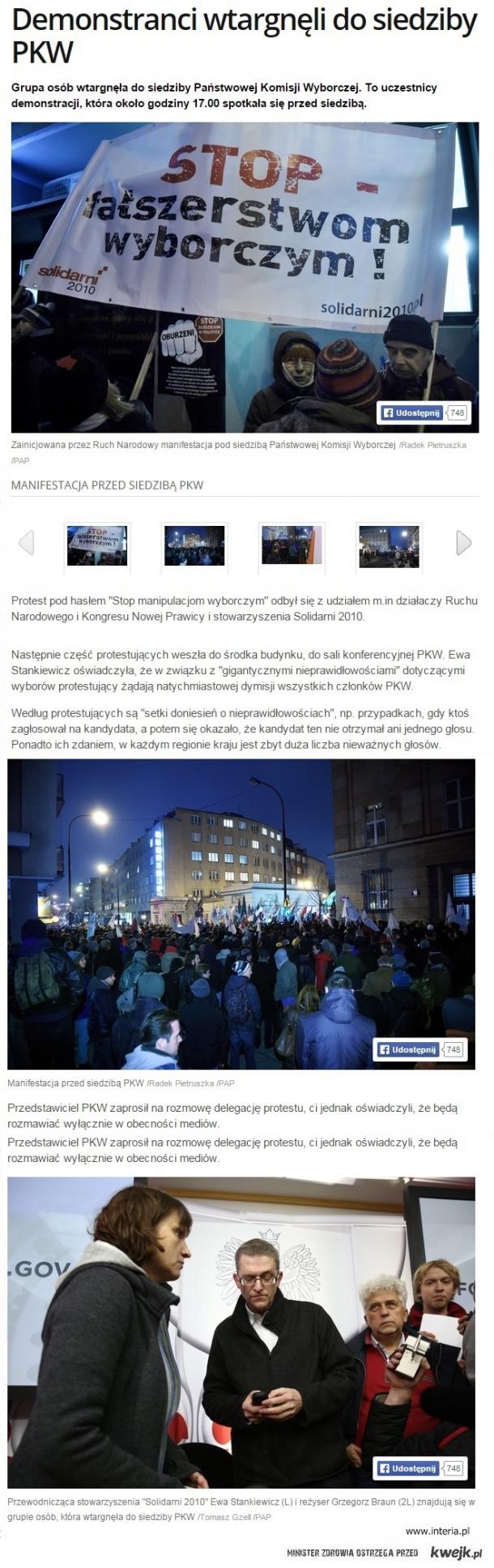 Demonstranci wtargnęli do siedziby PKW
