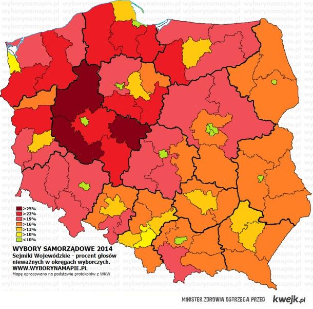 Mapa głosów nieważnych w wyborach samorządowych 2014