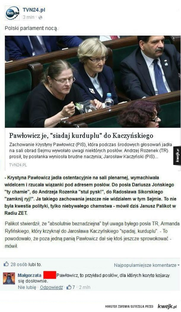 Pawłowicz ostentacyjnie jadła w Sejmie