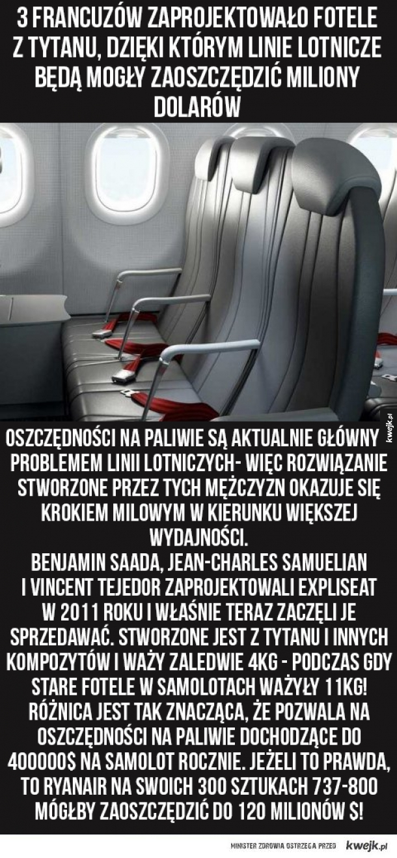 Zaprojektowano fotele, dzięki którym linie lotnicze oszczędzą mnóstwo pieniędzy i będą emitować mniej zanieczyszczeń do atmosfery. My też na tym zyskamy!