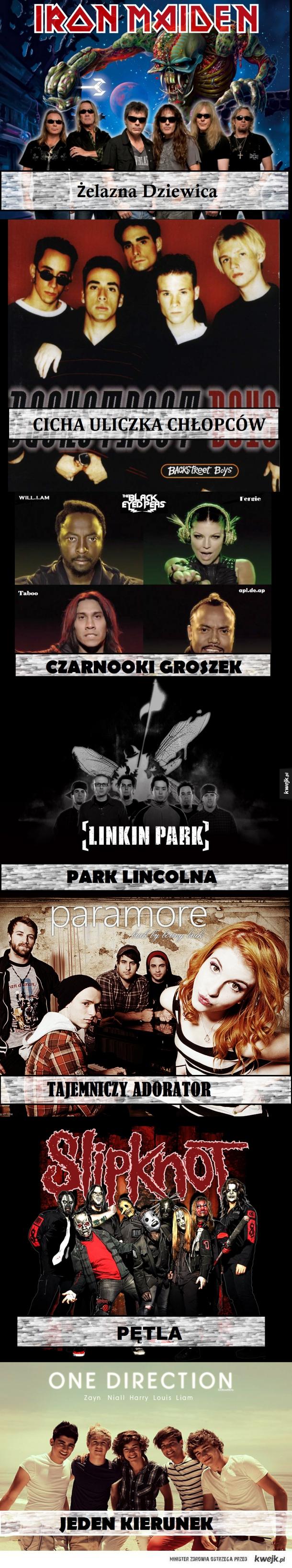 Nazwy zespołów po polsku