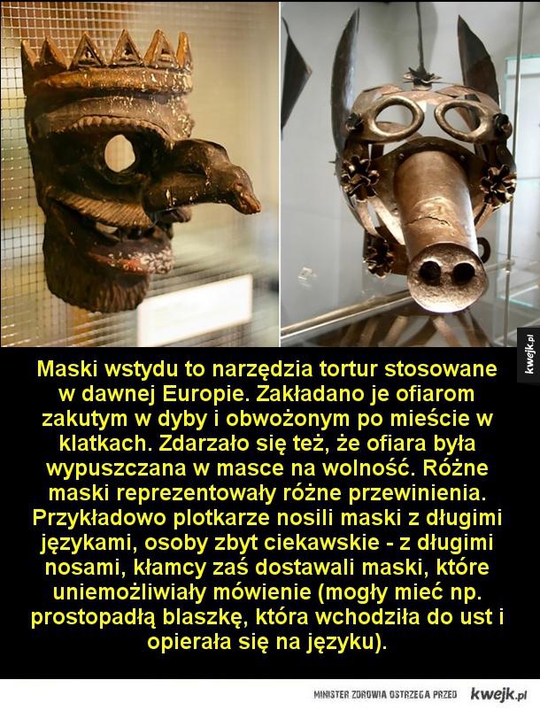 Maski wstydu - Maski wstydu to narzędzia tortur stosowane w dawnej Europie. Zakładano je ofiarom zakutym w dyby i obwożonym po mieście w klatkach. Zdarzało się też, że ofiara była wypuszczana w masce na wolność. Różne maski reprezentowały różne przewinienia. Przykładowo