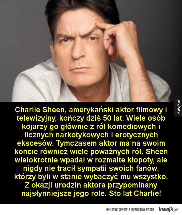 Charlie Sheen kończy dziś 50 lat - Charlie Sheen, amerykański aktor filmowy i telewizyjny, kończy dziś 50 lat. Wiele osób kojarzy go głównie z ról komediowych i licznych narkotykowych i erotycznych ekscesów. Tymczasem aktor ma na swoim koncie również wiele poważnych ról. Amerykanin wielokro