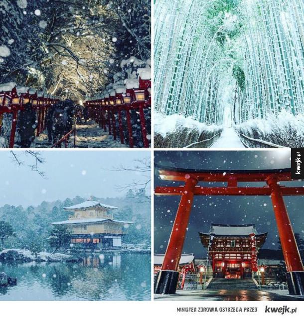 Śnieg zmienił Kyoto w baśniową krainę