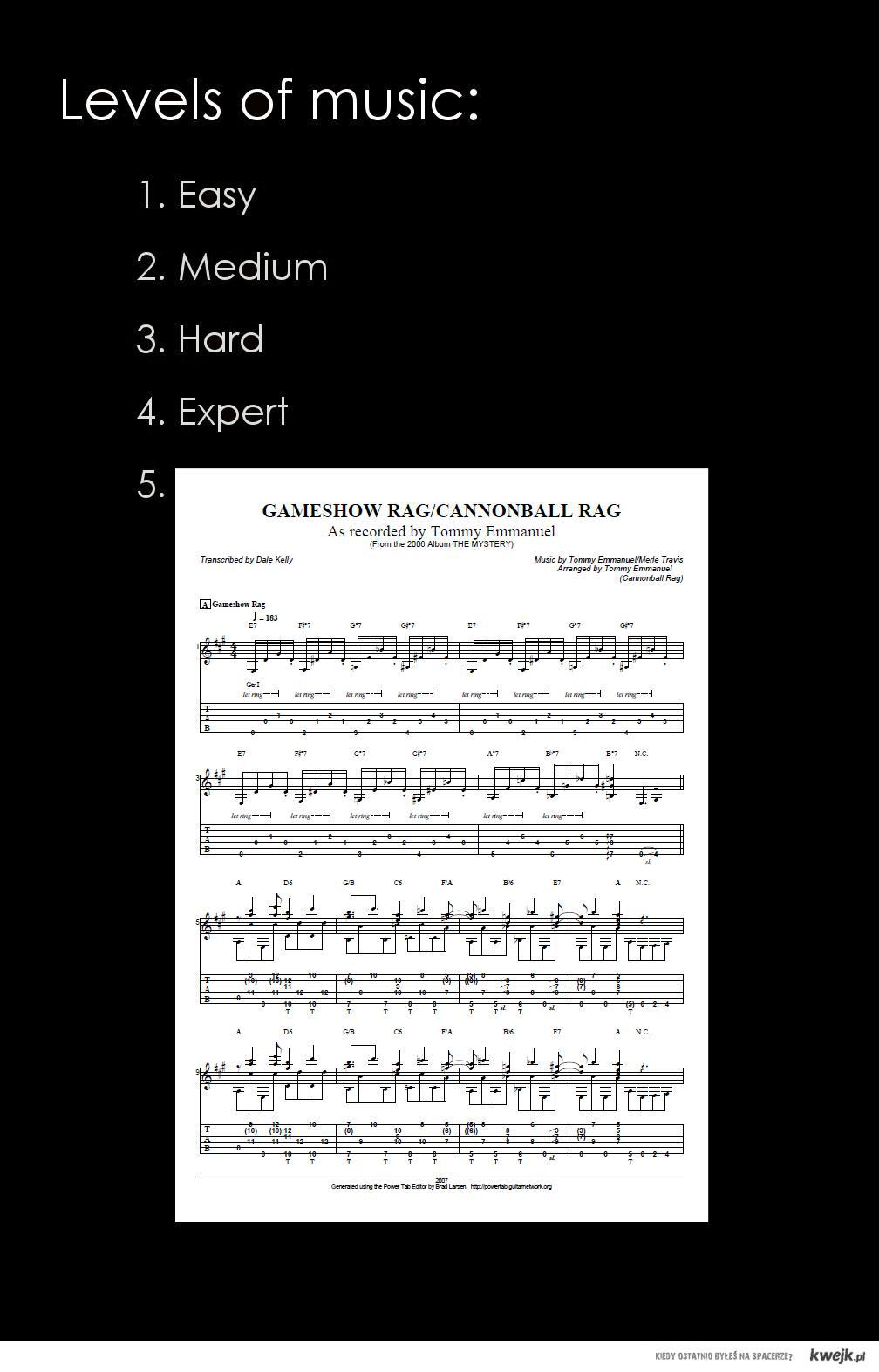 """Faktyczne """"poziomy muzyki"""""""