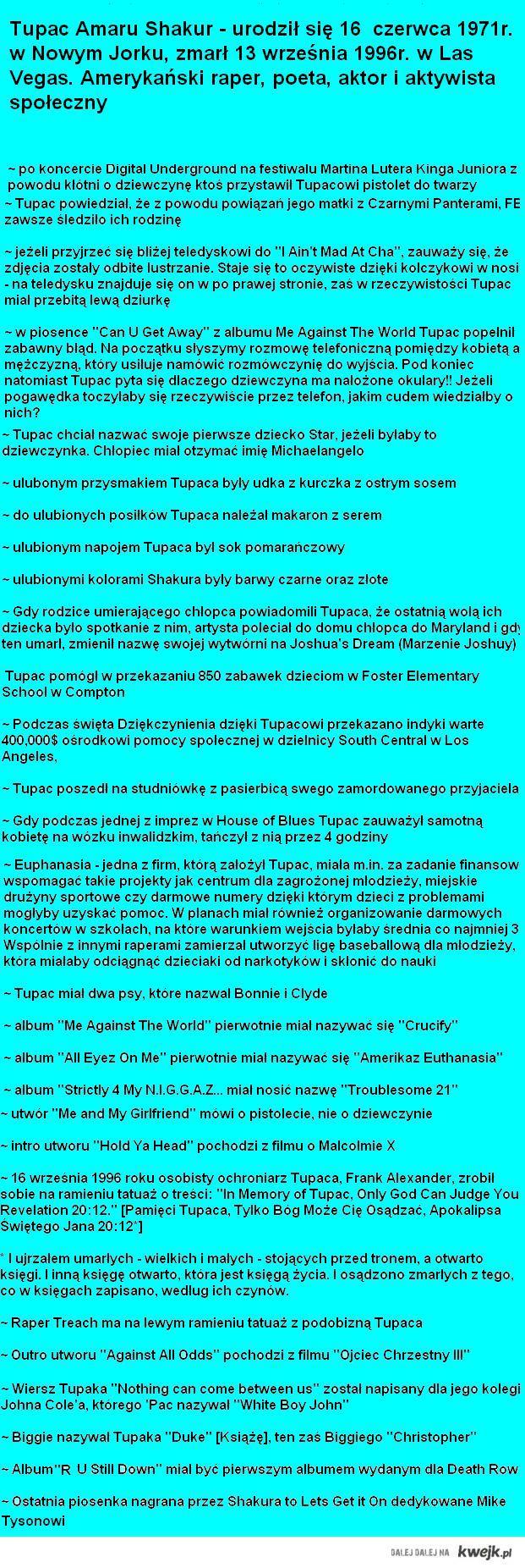 Tupac - Ciekawostki