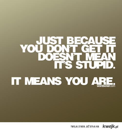Just because you dont understand...