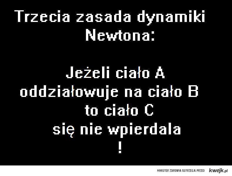 trzecia zasada Newton