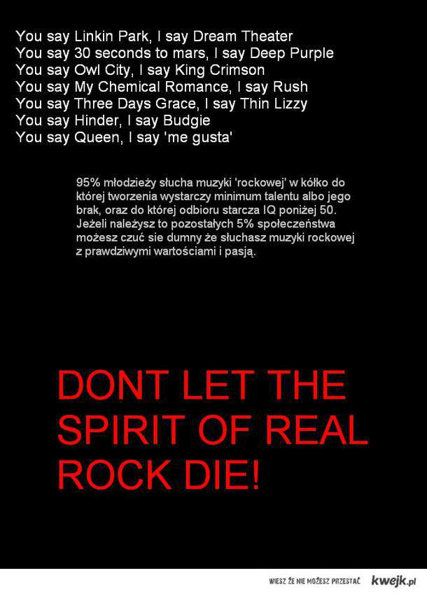 Pozdrawiam fanów rocka