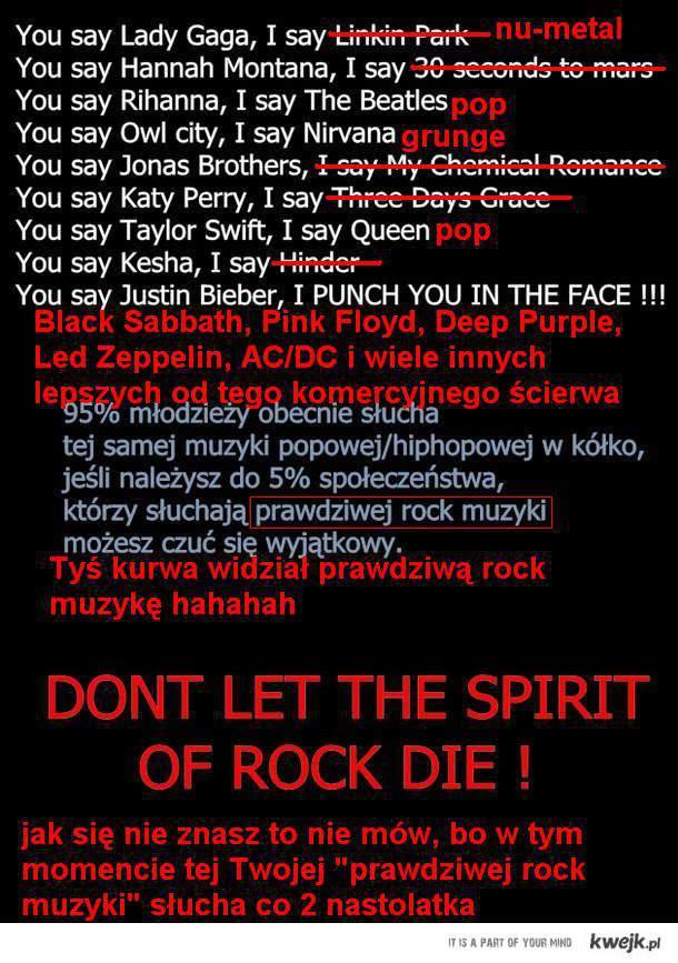 Odpowiedź na prawdziwą rock muzykę