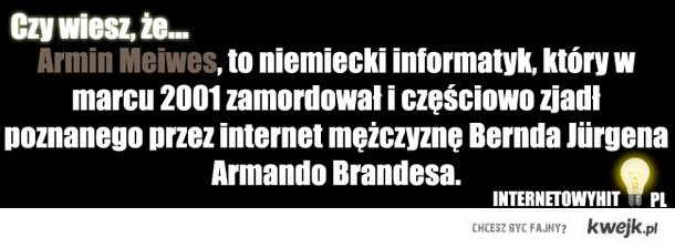 Armin Meiwes, to niemiecki informatyk, który w marcu 2001 zamordował i częściowo zjadł poznanego przez internet mężczyznę Bernda