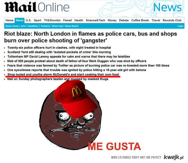 Zamieszki w Londynie macdonald's