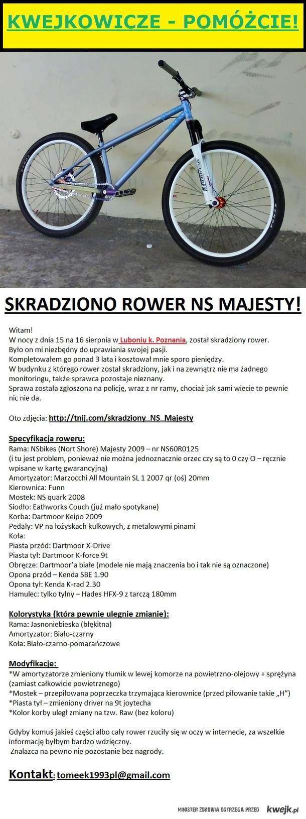 Skradziono rower NS Majesty!