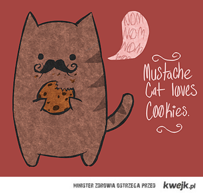 moustache cat love cookies
