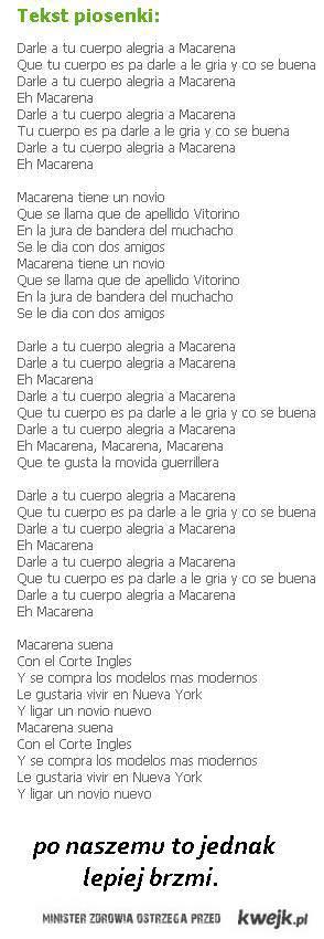 tekst  piosenki MACARENA