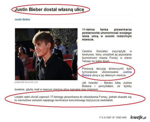 ulica na cześć Biebera