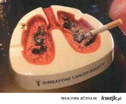 Popielniczka przypominająca o Twoich płucach