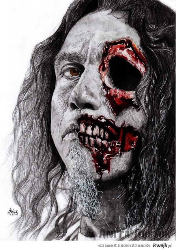 Moj rysunek. Tom Araya ze Slayera. 3H, HB, 2B, B, 10B, kredki