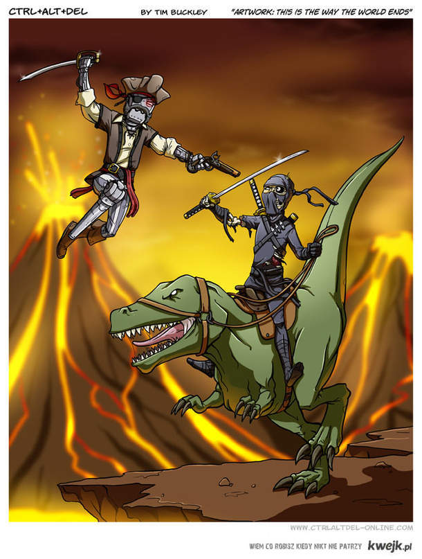 Robot-pirate v.s. Ninja-zombie riding T-Rex