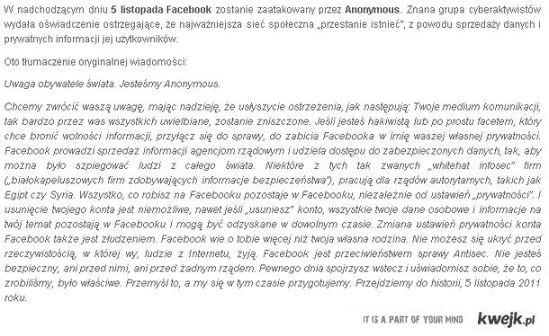 Anonymous chce zniszczyc Facebooka