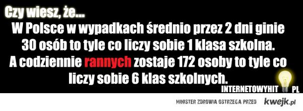 W Polsce w wypadkach średnio przez 2 dni ginie 30 osób to tyle co liczy sobie 1 klasa szkolna. A codziennie rannych zostaje 172