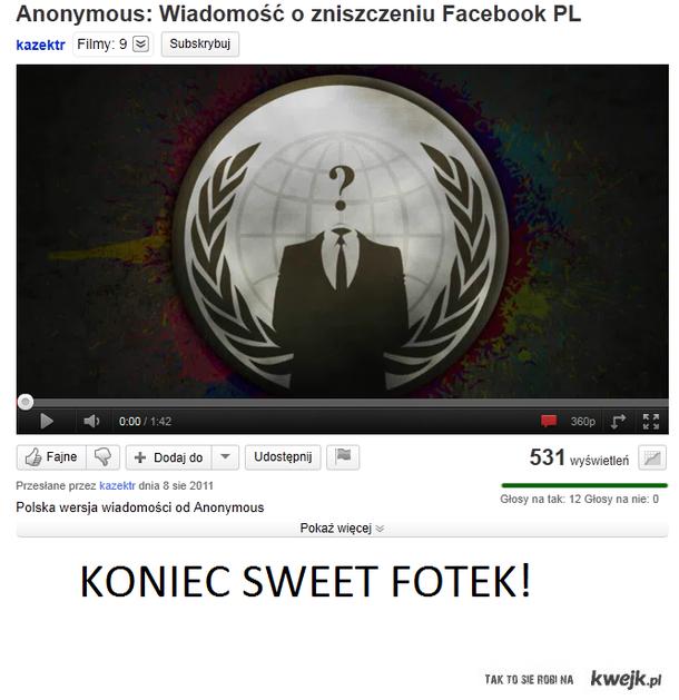 Anonymous: Zniszczenie Facebooka 5.11.2011r.