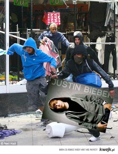 Zamieszki w Londynie - Justin Bieber