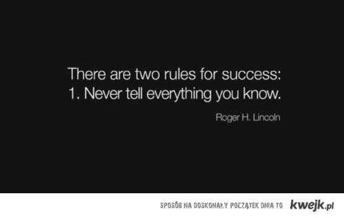 two rules for succes