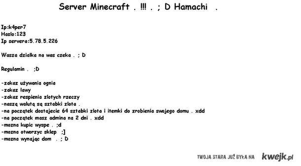 Server Minecraft . ; D Na wersje 1.7.3