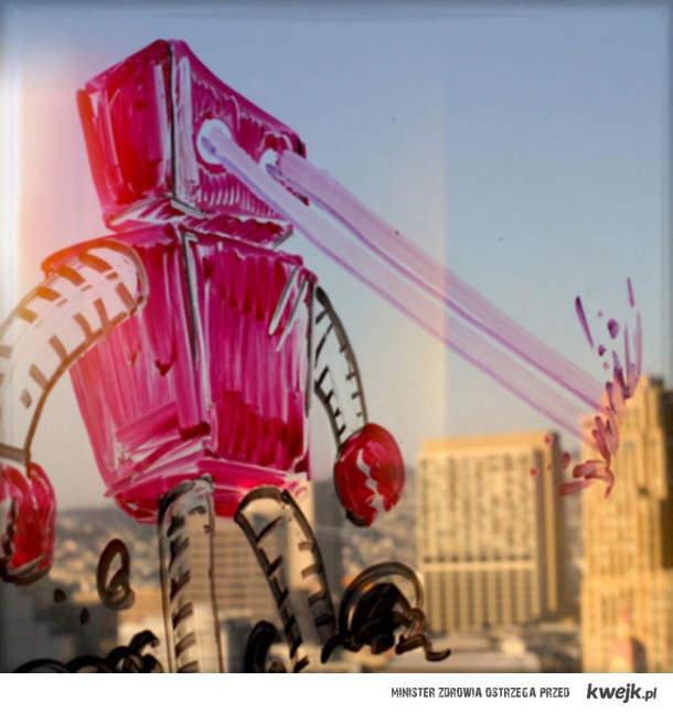 robot niszczy miasto