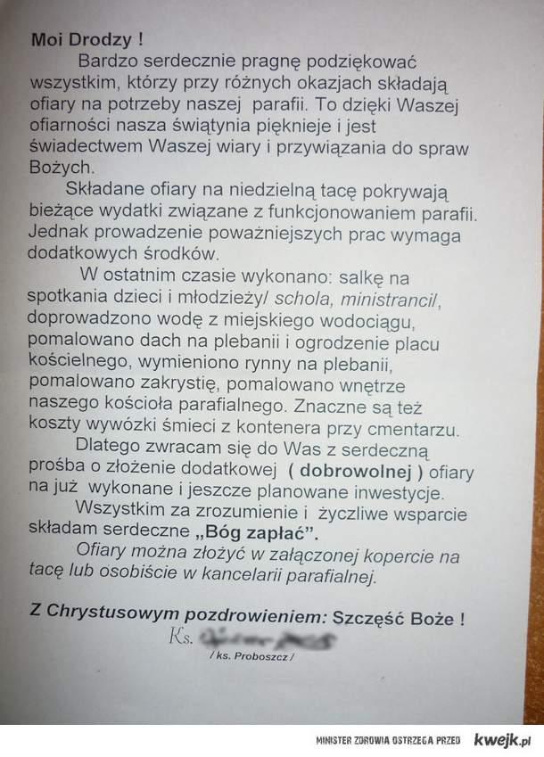 list od księdza