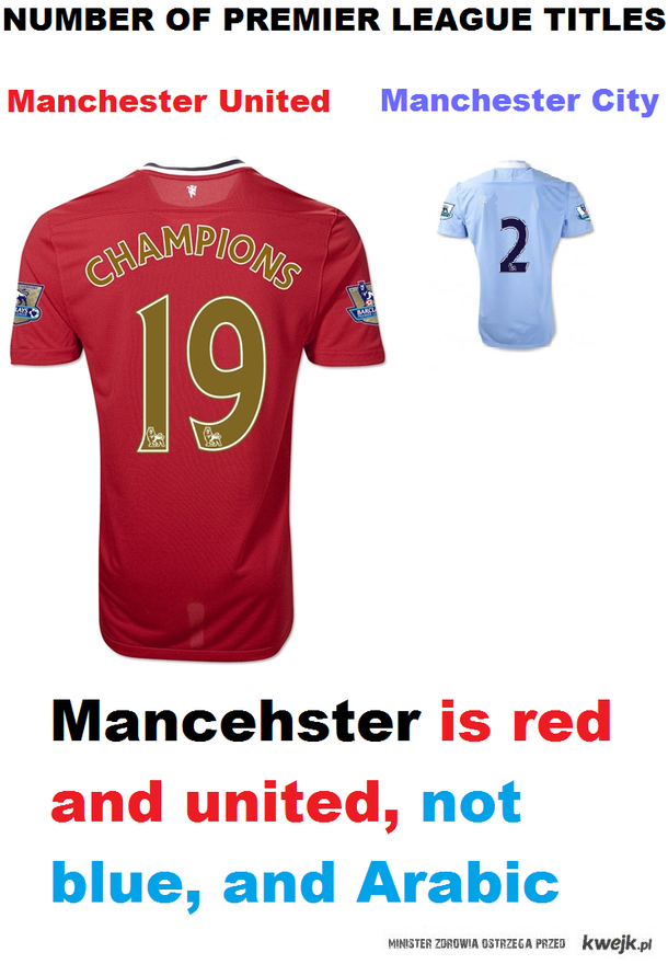 Manchester is RED and UNITED, not blue and arabic