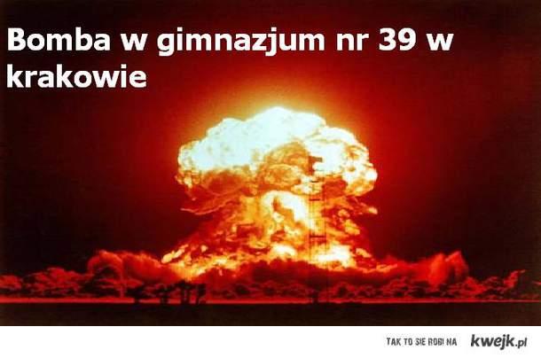 Bomba w krakowie Gimn.nr 39