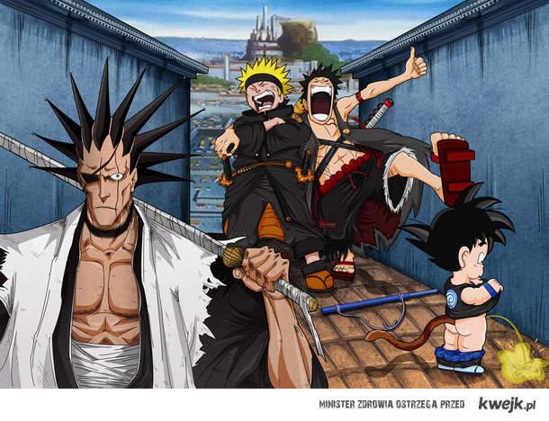 Goku, Zaraki, Naruto, Luffy