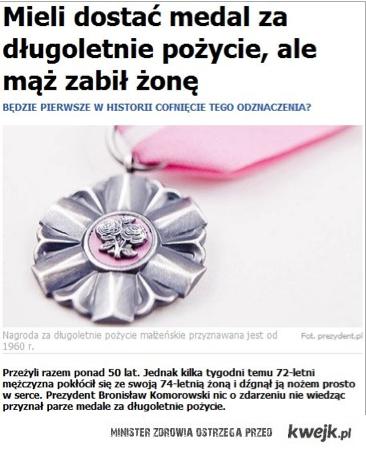 Mieli dostać medal ale mąż zabil żone
