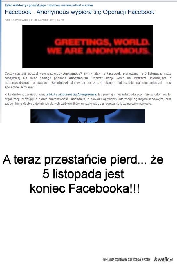 Koniec Facebooka- pierdoły