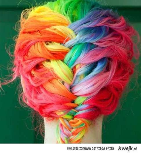 tęcza we włosach