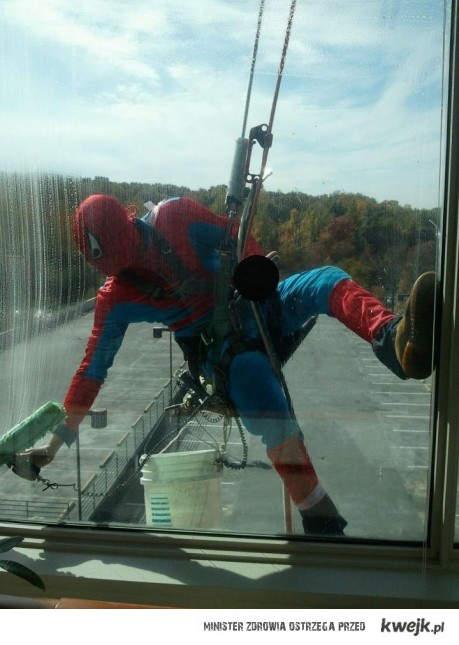 spiderman myje szyby
