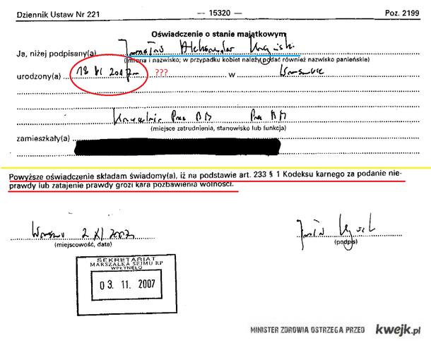 Błąd prezesa PIS w oświadczeniu majątkowym z 2007!