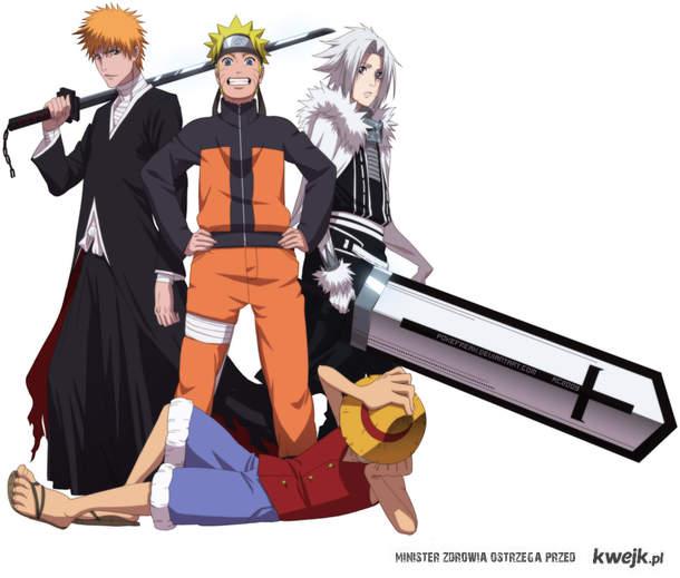 Luffy-One Piece, Ichigo-Bleach, Naruto, Allen-D.Gray-Man