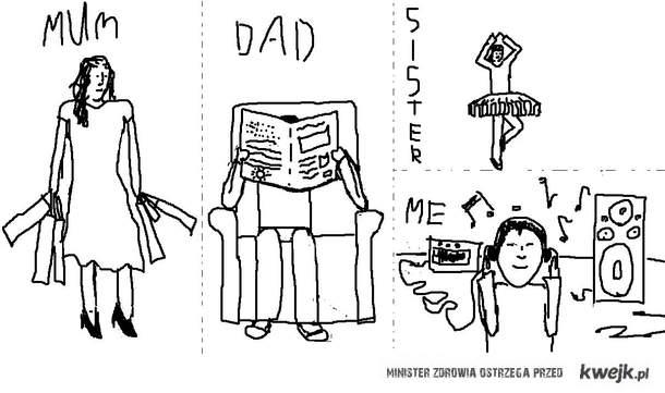 mum, dad, sister, me