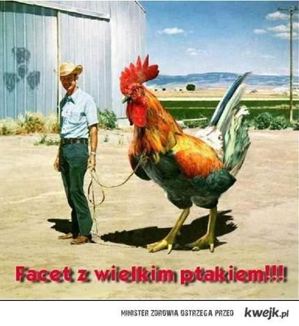 Facet z wielkim ptakiem !