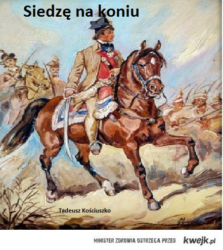 tadeusz siedzi na koniu
