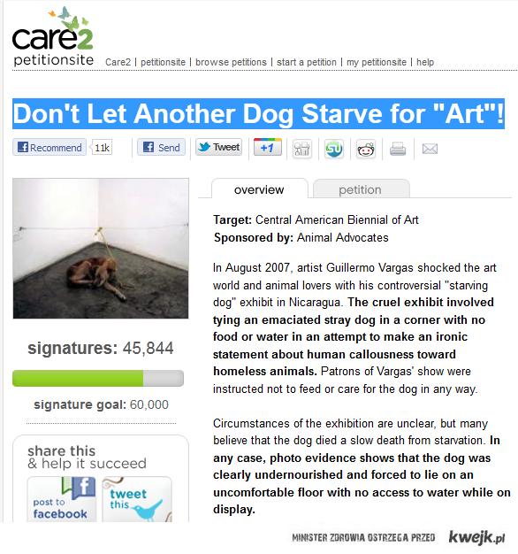 Nie pozwólcie zagłodzić kolejnego psa dla sztuki!