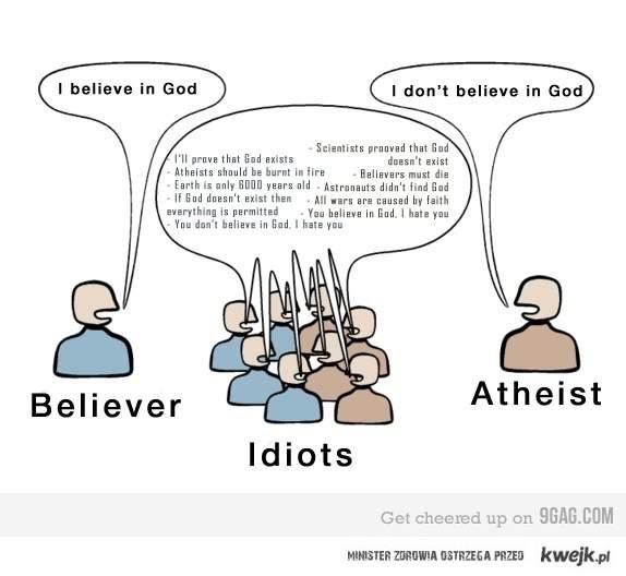 Ateiści - Wierzący - ... Idioci