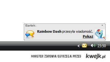 Rainbow Dash wysyła wiadomość