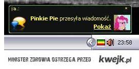 Pinkie Pie wysyłą wiadomość