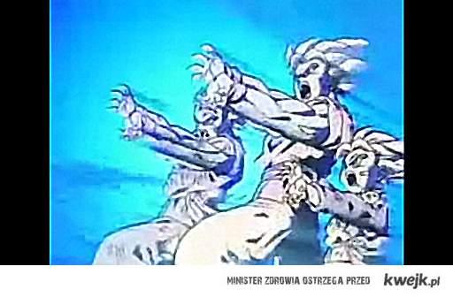 Goku, Gohan i Goten odpierają atak Brolly'ego potrójną falą kamehameha.