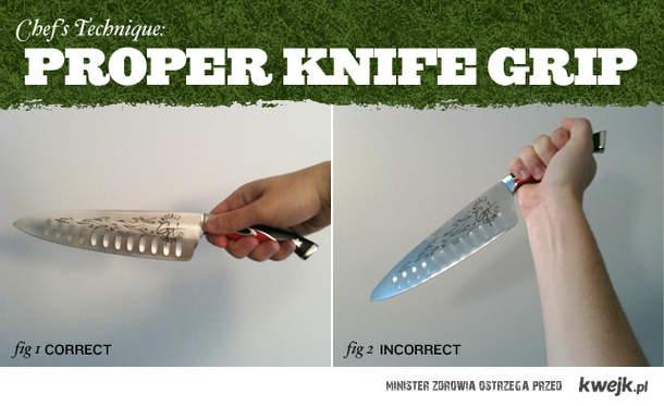 Właściwy chwyt noża